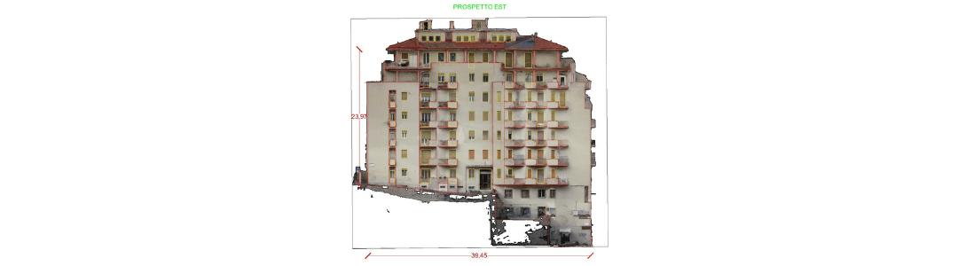 Rilievo di edifici con drone per Bonus 110%: prospetti quotati e copertura (Ascoli Piceno)